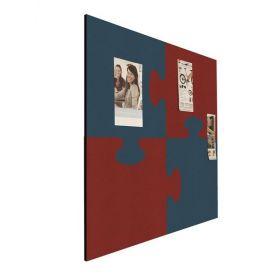 "Pinboard ""Puzzle"" - Bulletin - 100x100cm - Design-Pintafel in Rot / Blau"