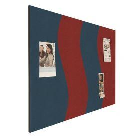 "Memoboard ""Wave"" - Bulletin - 90x120cm - Design-Pinwand in Rot / Blau"