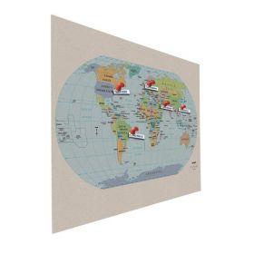XXL-Design-Pinnwand - Weltkarte - 90x120cm groß und aus Kork-Bulletin für Pins