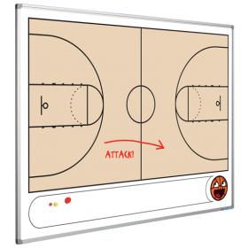Taktiktafel mit Basketballfeld  - magnetisch - 90x120 cm
