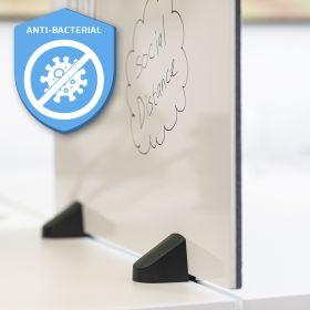 """Schreibtisch-Trennwand - 58x160cm - Pinnwand/Whiteboard """"2 in 1"""" - Antibakteriell - Doppeltisch -  Zum Klemmen"""